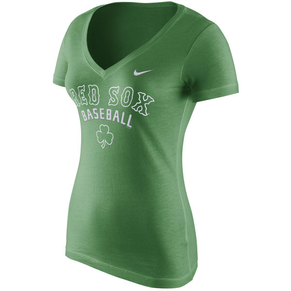 competitive price f3a52 be451 Boston Red Sox Women's Nike Green V-Neck Practice T-Shirt ...