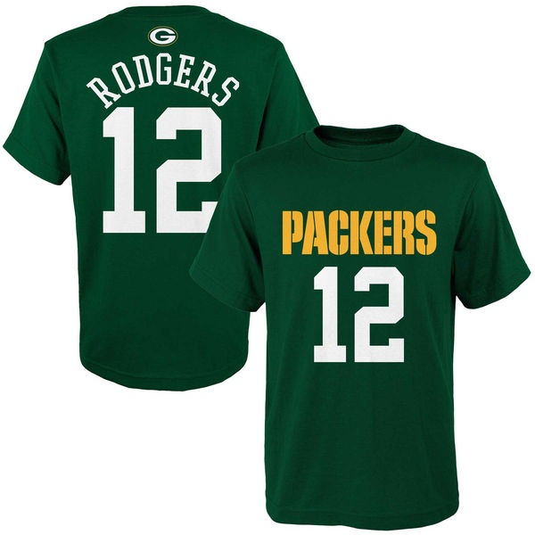 b8272f245 Green Bay Packers Aaron Rodgers Green Mainliner Name   Number T-Shirt-Toddler
