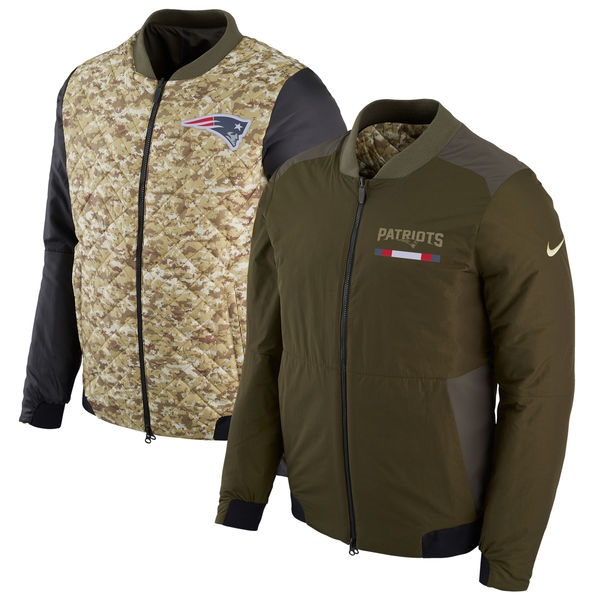 New England Patriots Men s Nike Green Salute to Service Reversible Bomber  Full-Zip Jacket 80187506e