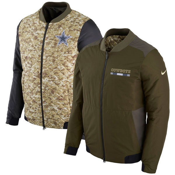 819227517 Dallas Cowboys Men's Nike Green Salute to Service Reversible Bomber Full-Zip  Jacket