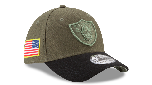 size 40 9b15d 9508c OAKLAND RAIDERS NEW ERA NFL ON-FIELD COLLECTION SALUTE TO SERVICE 39THIRTY  STRETCH FIT